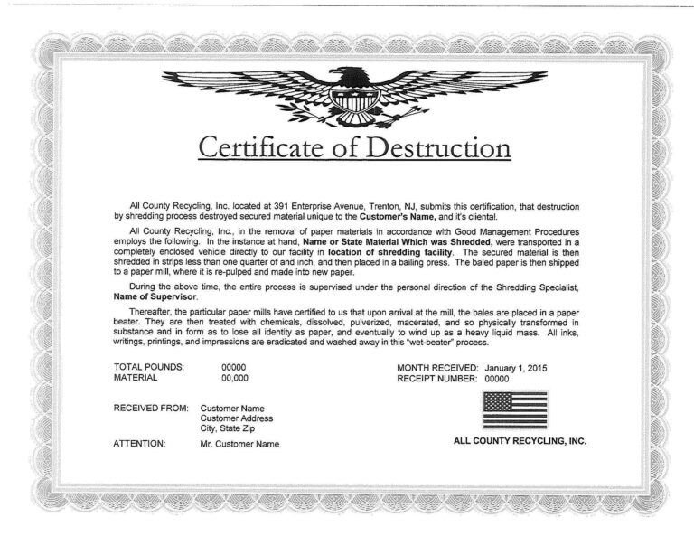5 Free Certificate Of Destruction Sample Templates Intended For Free Certificate O Certificate Templates Business Plan Template Free Certificate Templates