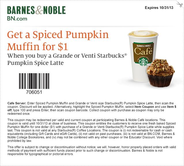 Barnes Noble 1 Spiced Pumpkin Latte Printable Coupon Pumpkin Latte Starbucks Pumpkin Spice Latte Pumpkin Spice
