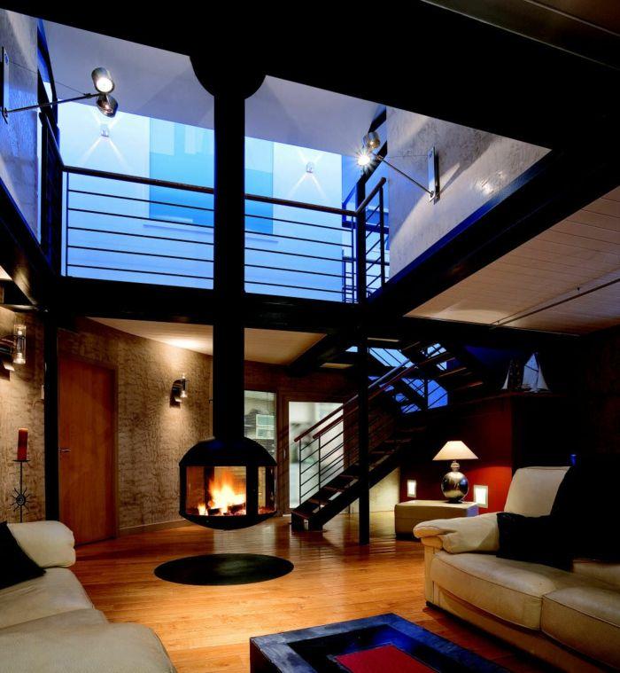 chemin e centrale foyer ferm ou chemin e traditionnelle. Black Bedroom Furniture Sets. Home Design Ideas