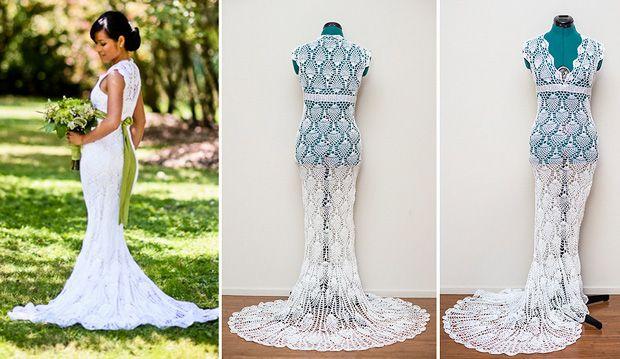 Crochet Wedding Dress - Woman Crochets Her Wedding Dress for $30
