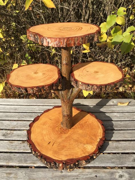 Pine Log Wood Collapsible Rustic Cake Pie 40 Cupcake Stand Wedding party shower wooden 4 tier, wild things are, live edge, boho