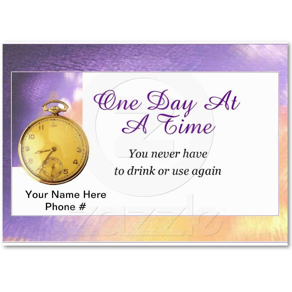 One day At a Time Business Card | Business cards, Recovery and Business