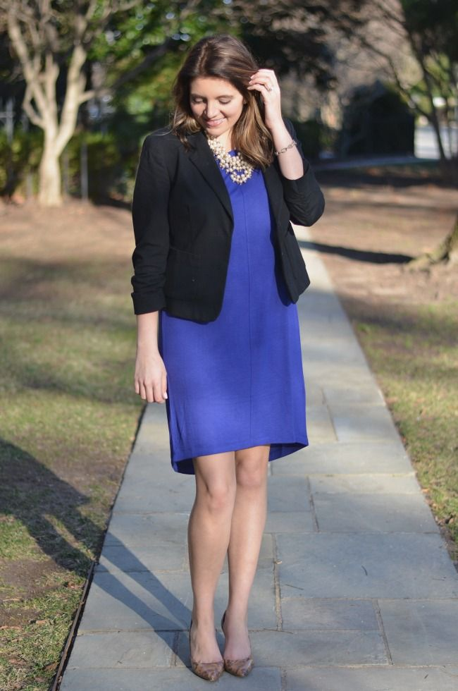 7ec8bed72d52 Cobalt blue dress with black blazer from  Marshalls  fabfound ...