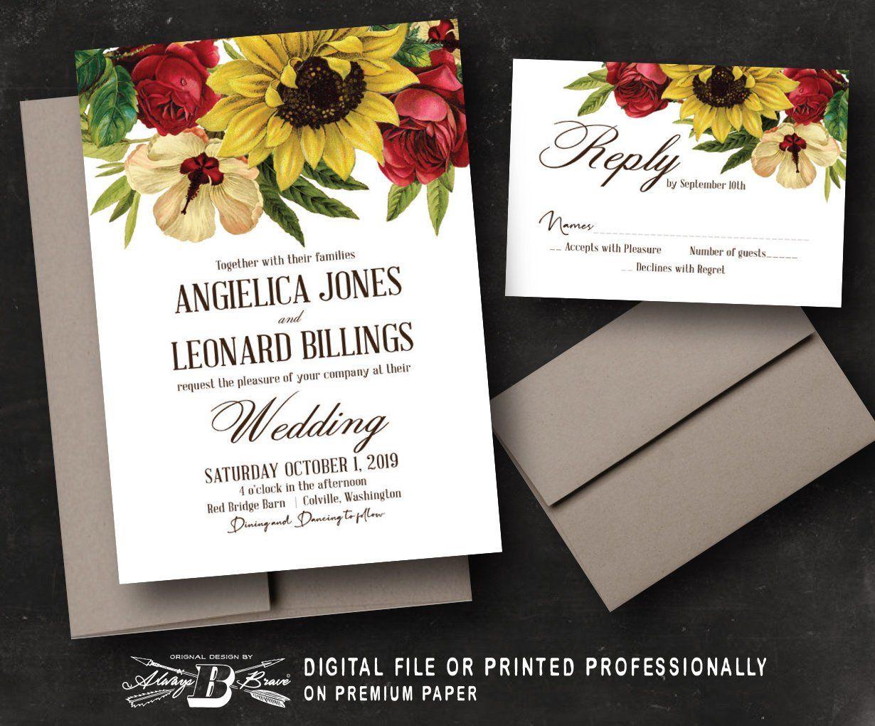 Sunflower Wedding Invitation & RSVP Vintage Floral