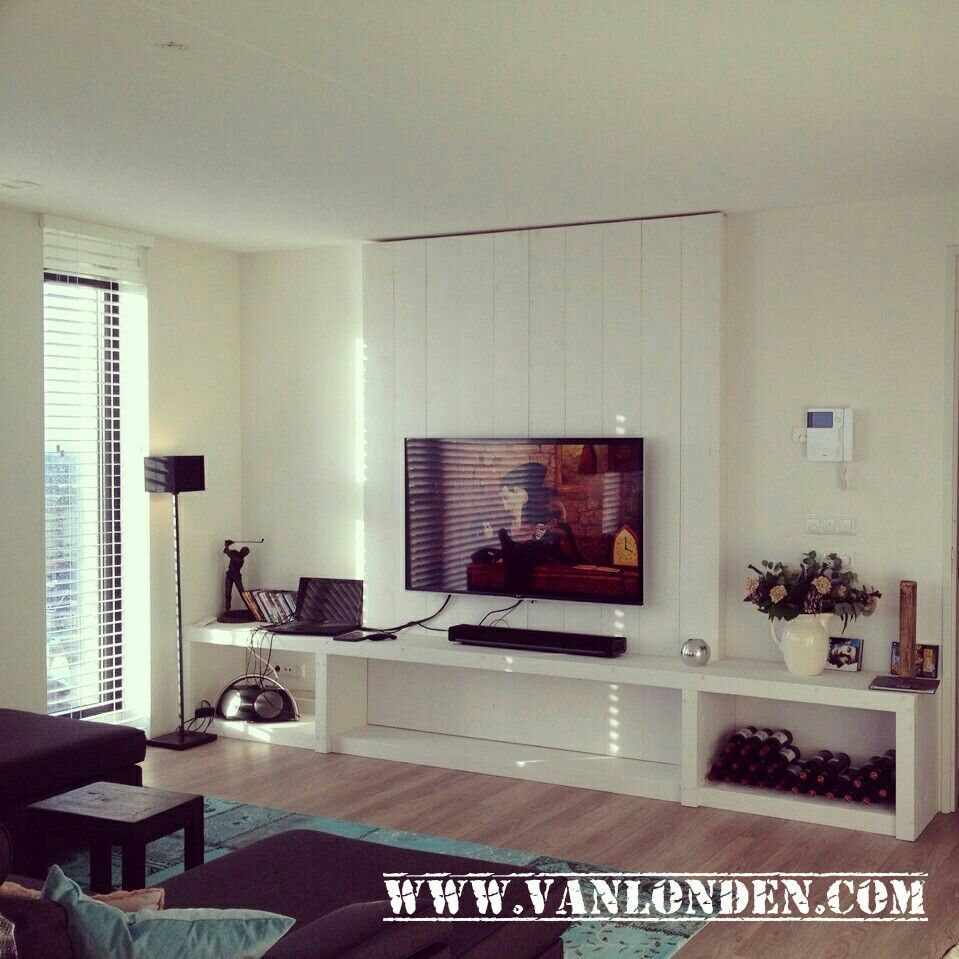 tv wand tv meubel van steigerhout wit gebeitst www. Black Bedroom Furniture Sets. Home Design Ideas