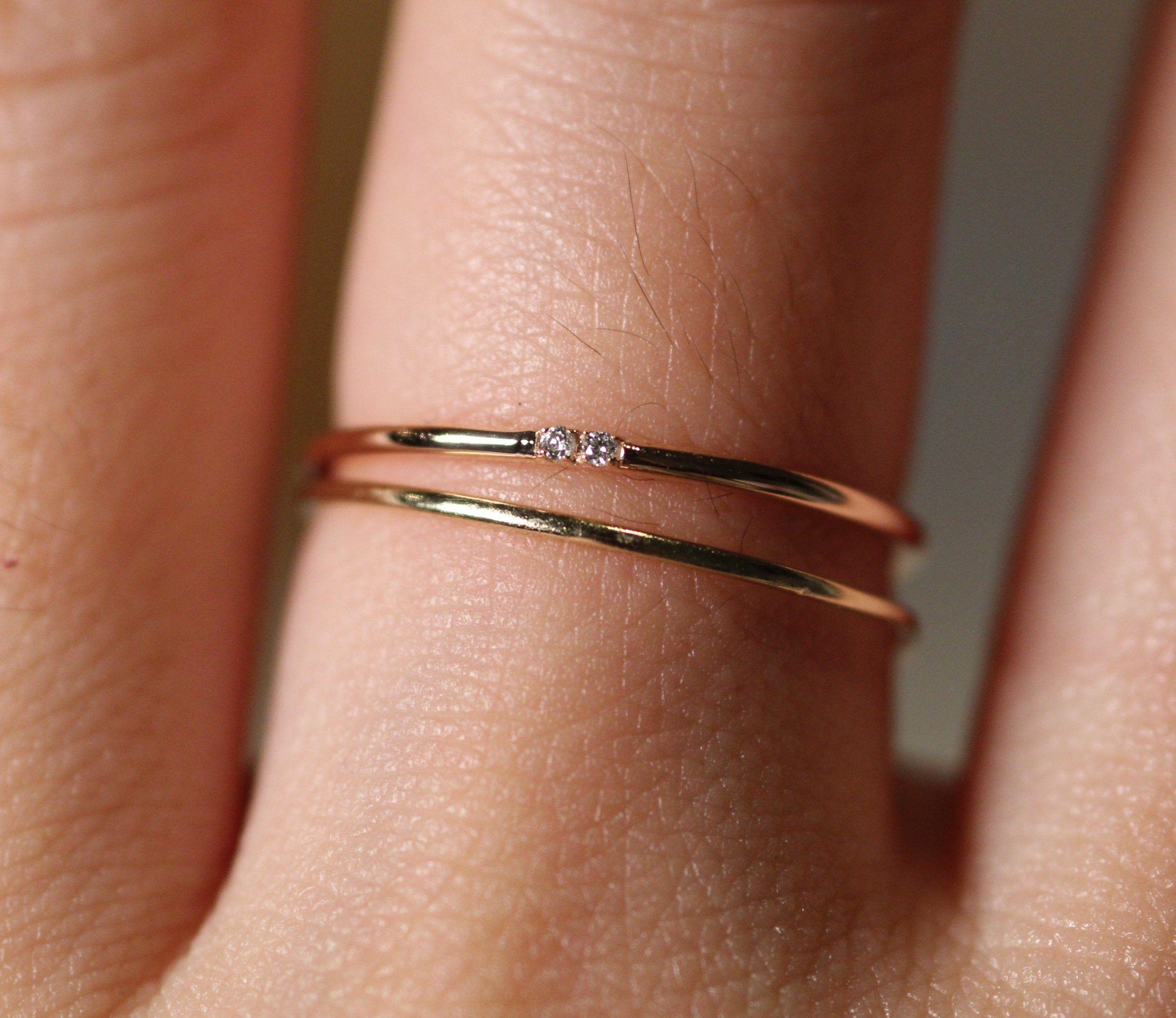 Diamond baguette ring Gold stacking ring Thin Diamond ring Gold and diamond stacking ring Diamond stacking ring Dainty diamond ring