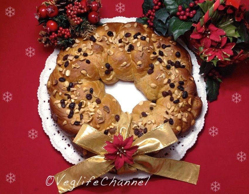 """Ghirlanda natalizia di pasta brioches"" Ricetta vegan di Veglife Channel"