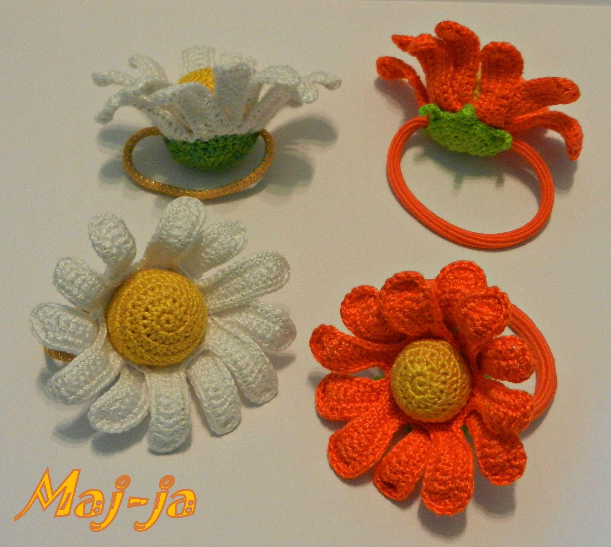 pattern, мастер-класс Резиночка-ромашка крючком. Мастер-класс состоит из подробного описания и 49 фотографий пошагового изготовления цветочка-ромашки. И как оформления  такого  цветочка в оригинальную, аккуратно сделанную заколку.