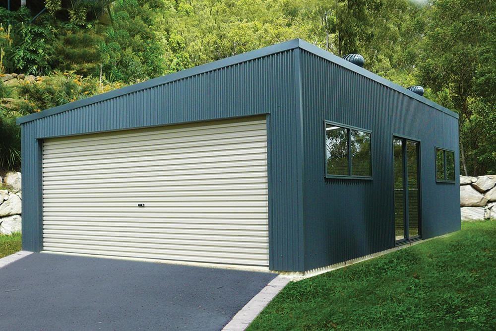 Double Garage with Skillion Roof Garage door design