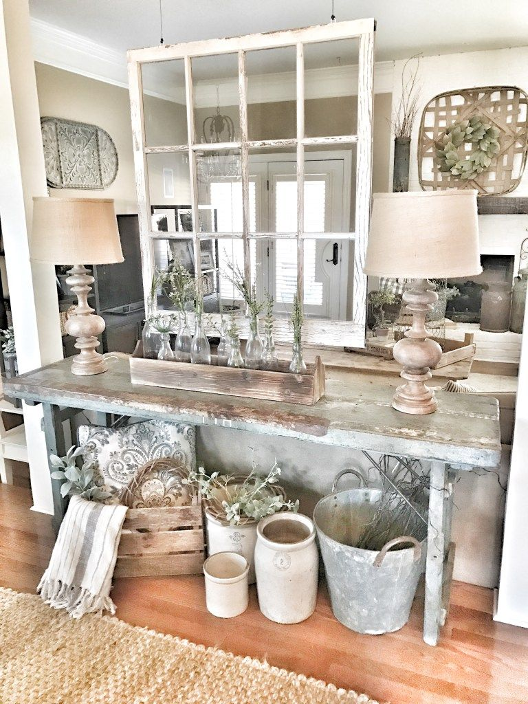 Living Room - Bless This Nest Farmhouse decor. Chippy Window as a ...