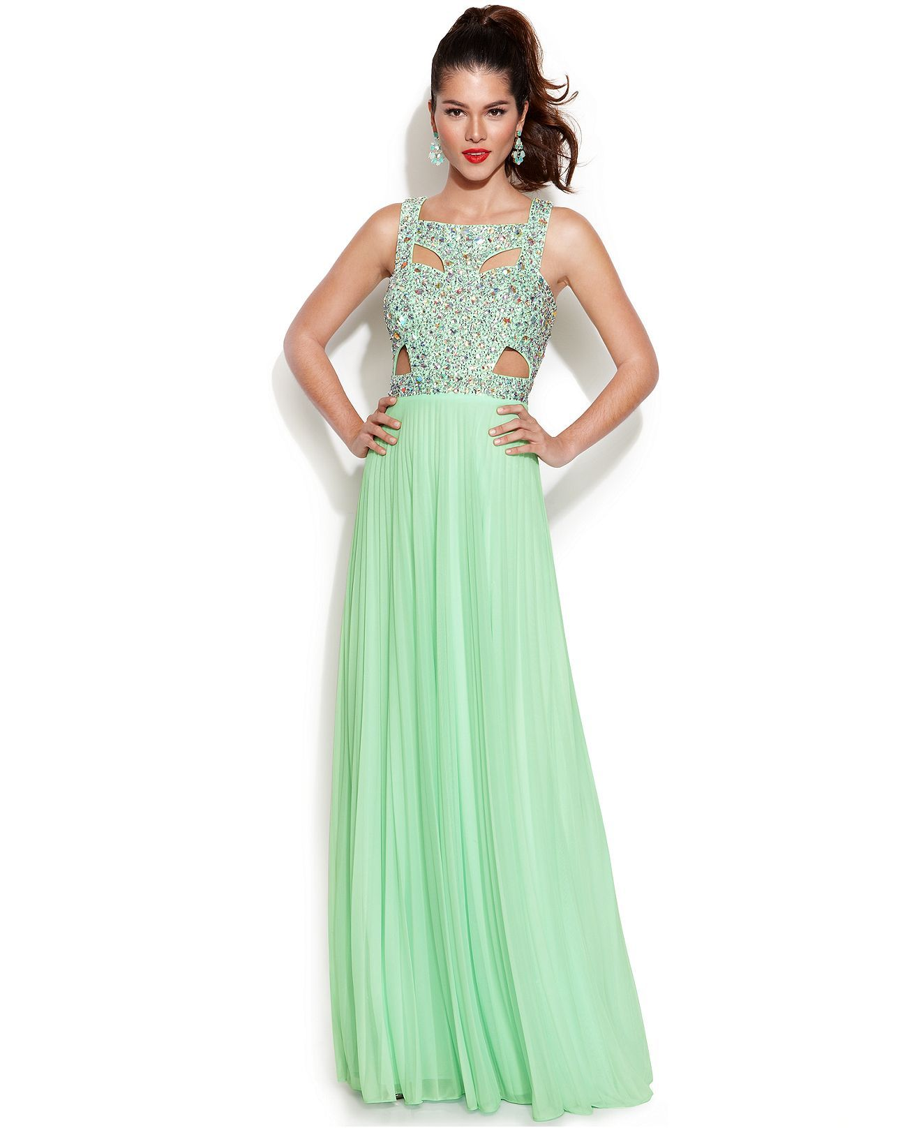 Betsy Adam Sleeveless Embellished Cutout Gown Juniors Prom