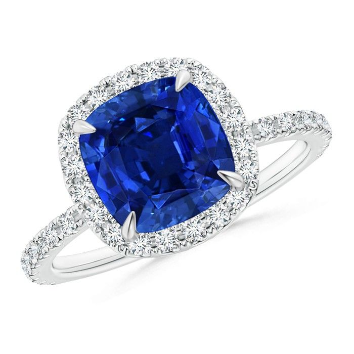 Angara Diamond Double Halos Blue Sapphire Engagement Ring in Yellow Gold IZqyY