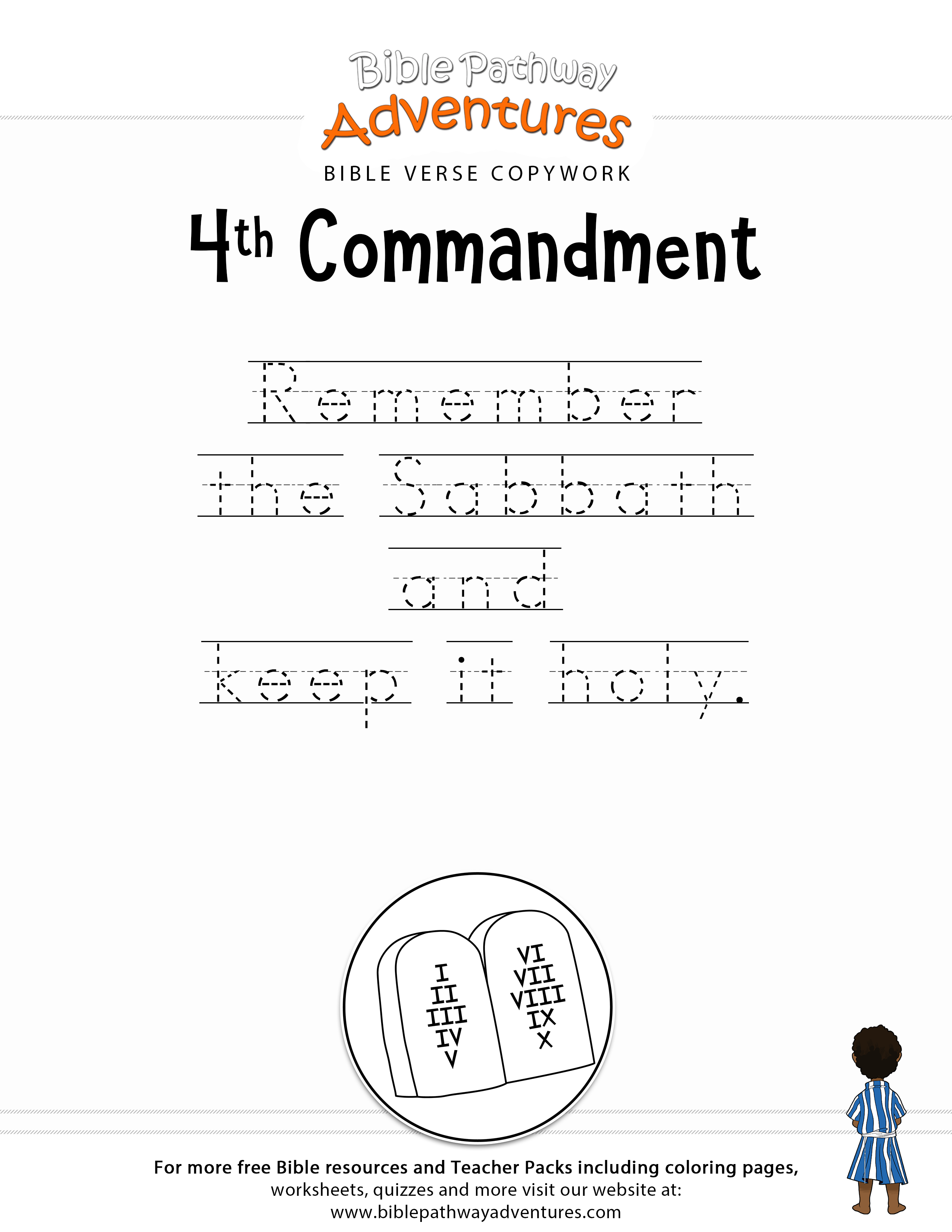 Ten Commandments Copywork 4th Commandment