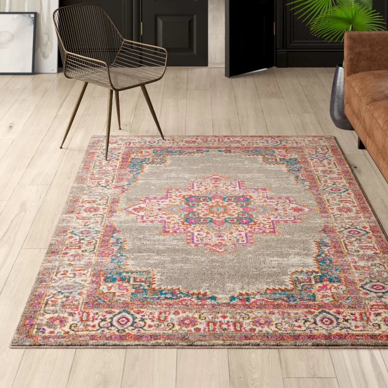 Abbate Power Loom Gray Pink Rug In 2020 Grey Area Rug Area Rugs Rugs