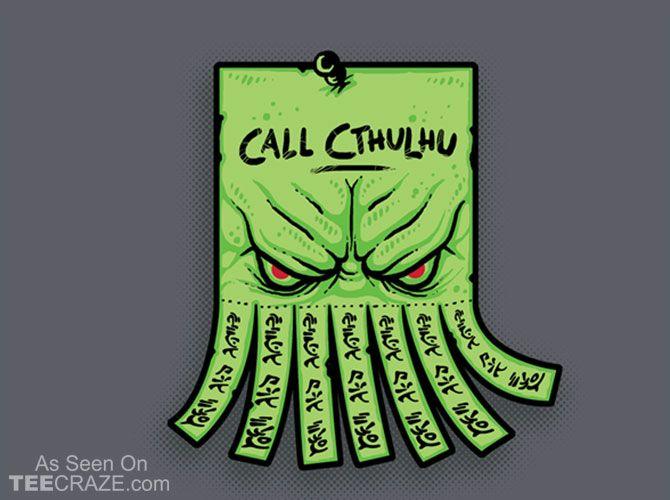 Call Cthulhu T-Shirt - http://teecraze.com/call-cthulhu-t-shirt/ -  Designed by Letter-Q    #tshirt #art #fashion #tee #cthulhu