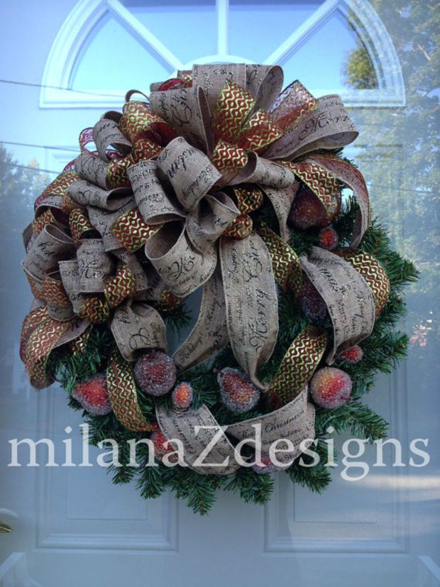 Sugared Fruit Wreath, Colonial Christmas, Traditional Christmas Wreath, Holiday Jeweled Fruit, Country Decorations