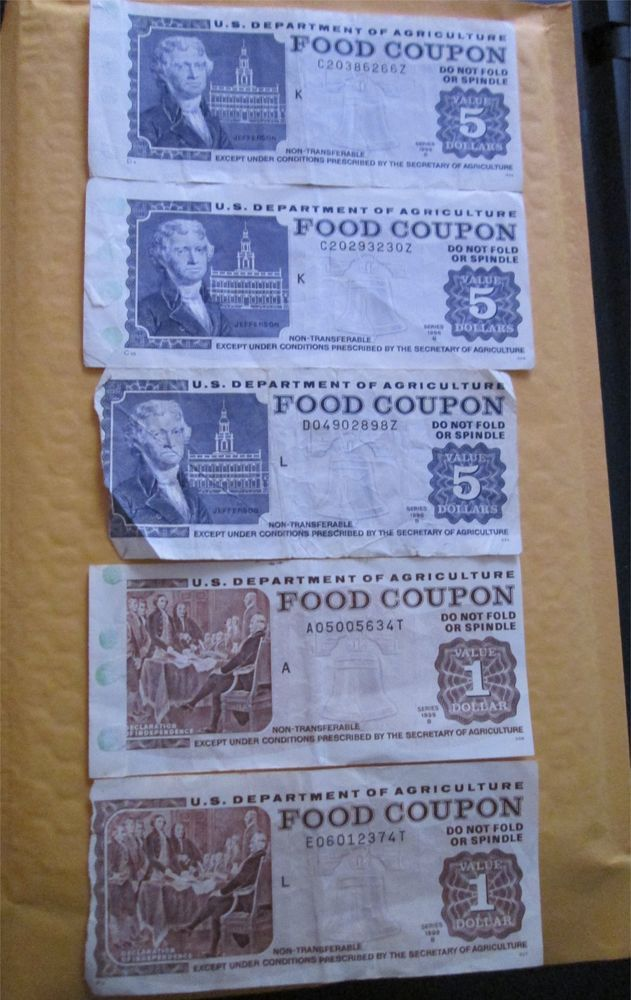 Buy It Now Original Vintage Usda Food Coupon Stamps 5 And 1 S
