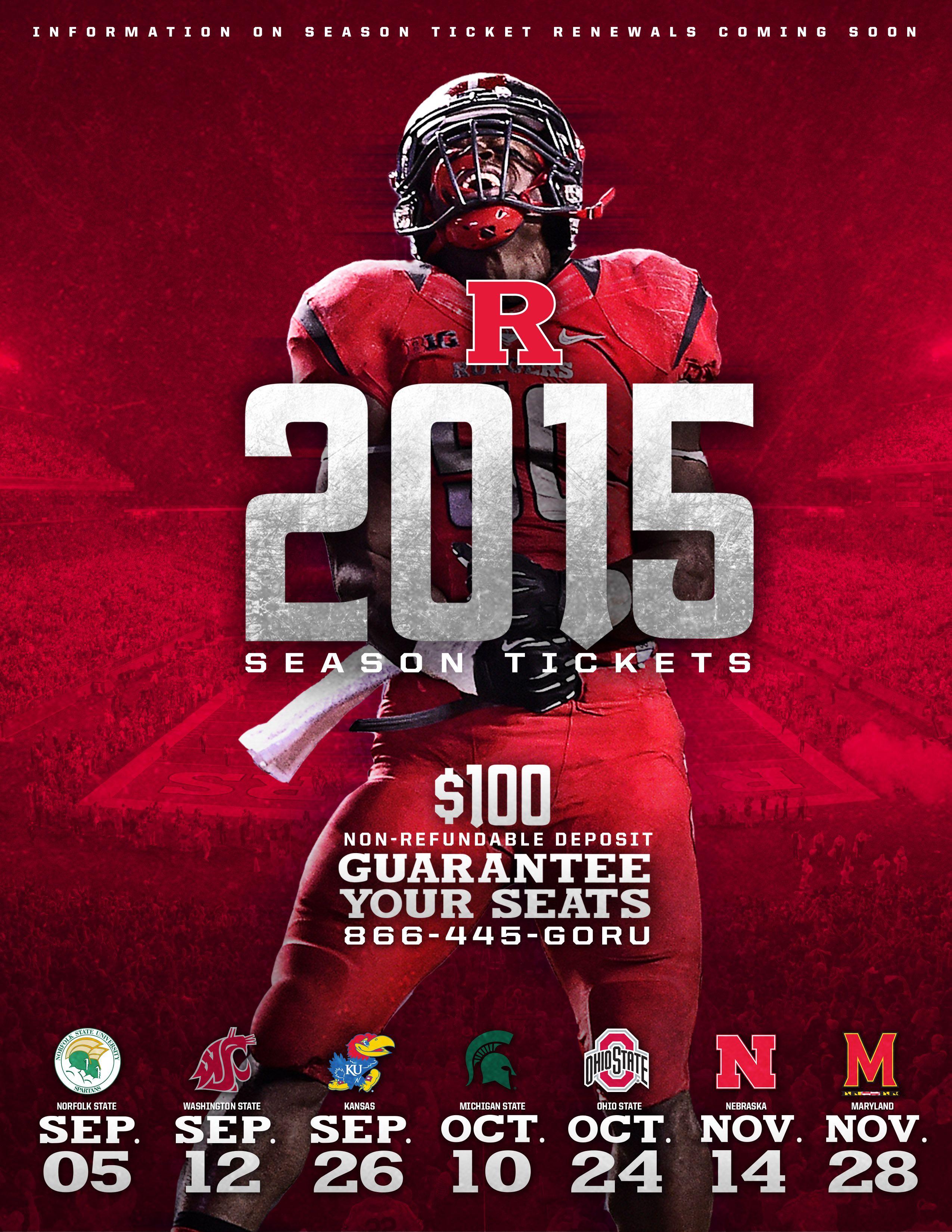 Really Like The Visual Of This Rutgers Football Season Ticket Deposit Email Sportsbiz Sports Marketing Season Ticket Sports Design