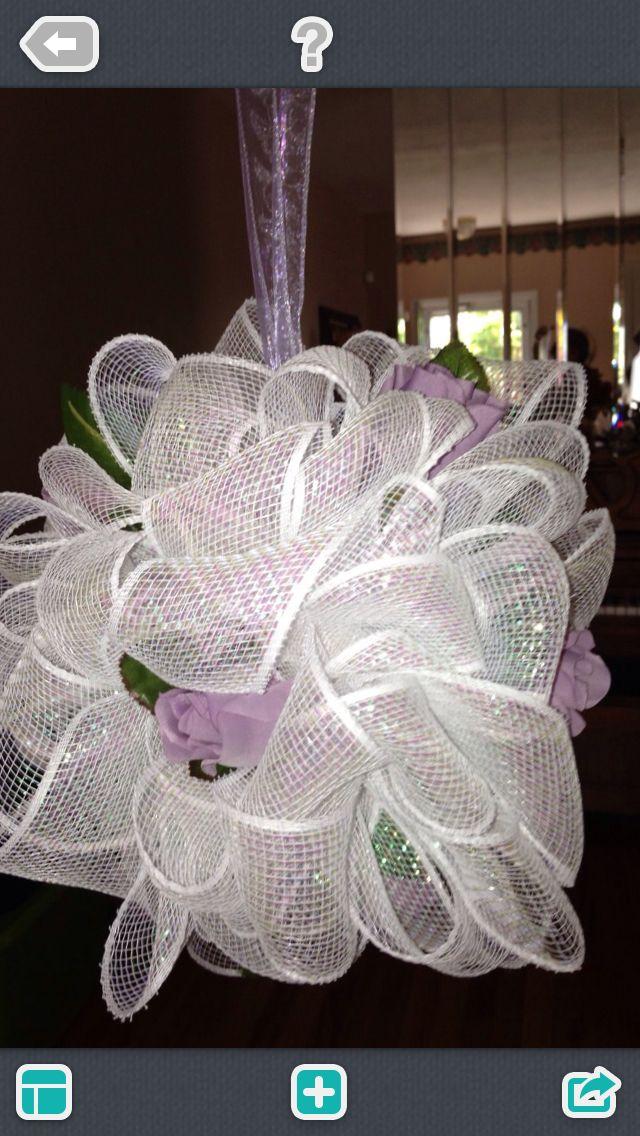 Wedding Deco Mesh Ribbon Pomander  kissing ball can be