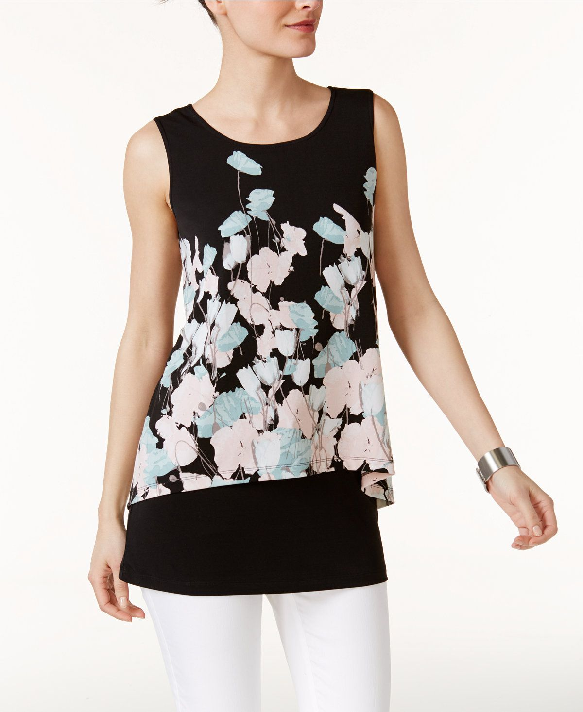 Alfani Floral-Print Popover Top, Only at Macy's - Tops - Women - Macy's