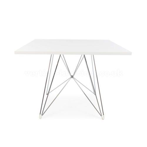 Mid Century Modern Designer Style White Square Dining Table Chrome - Mid century square dining table