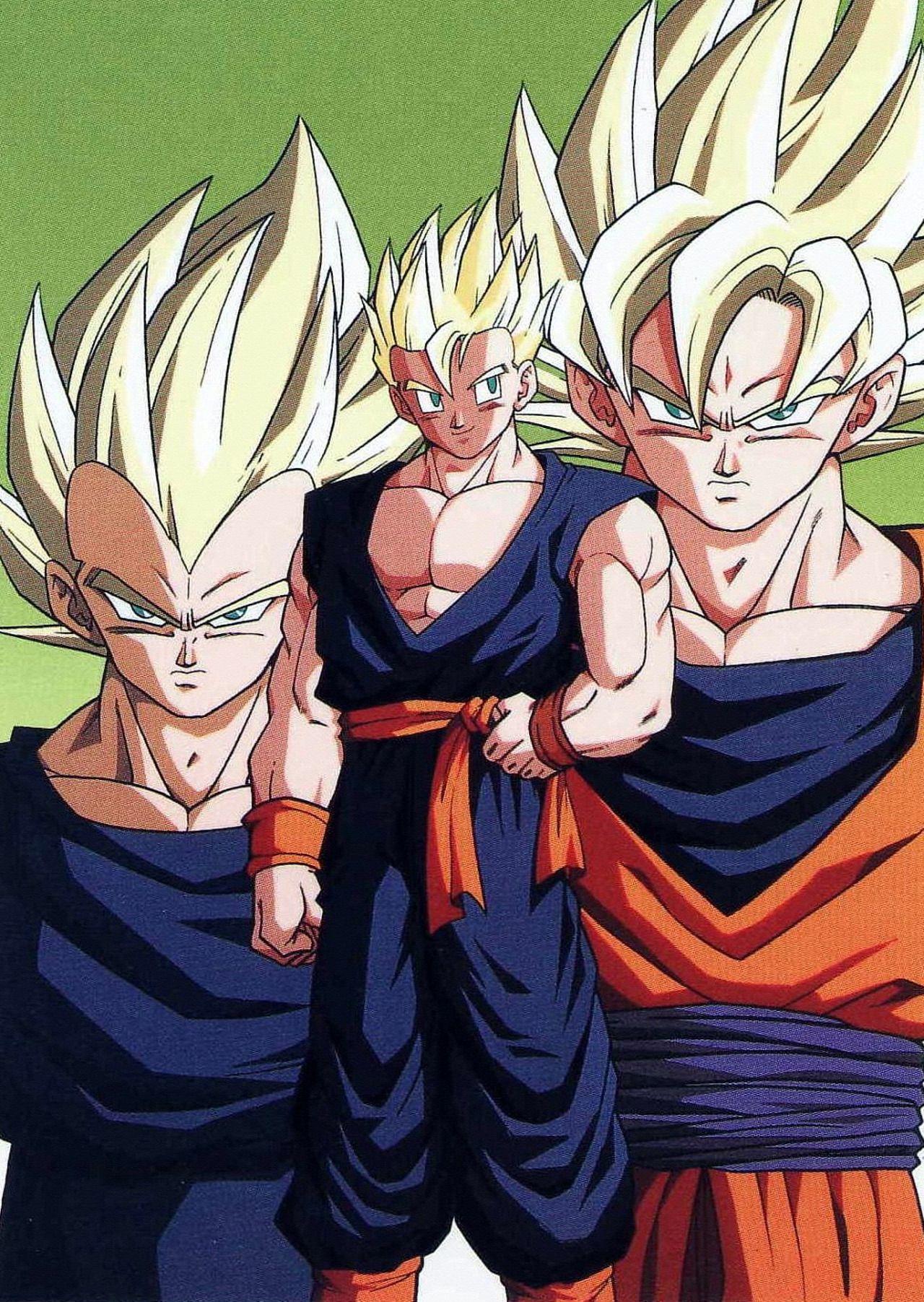 Super Saiyan Vegeta, Goku, and Gohan Anime Artwork