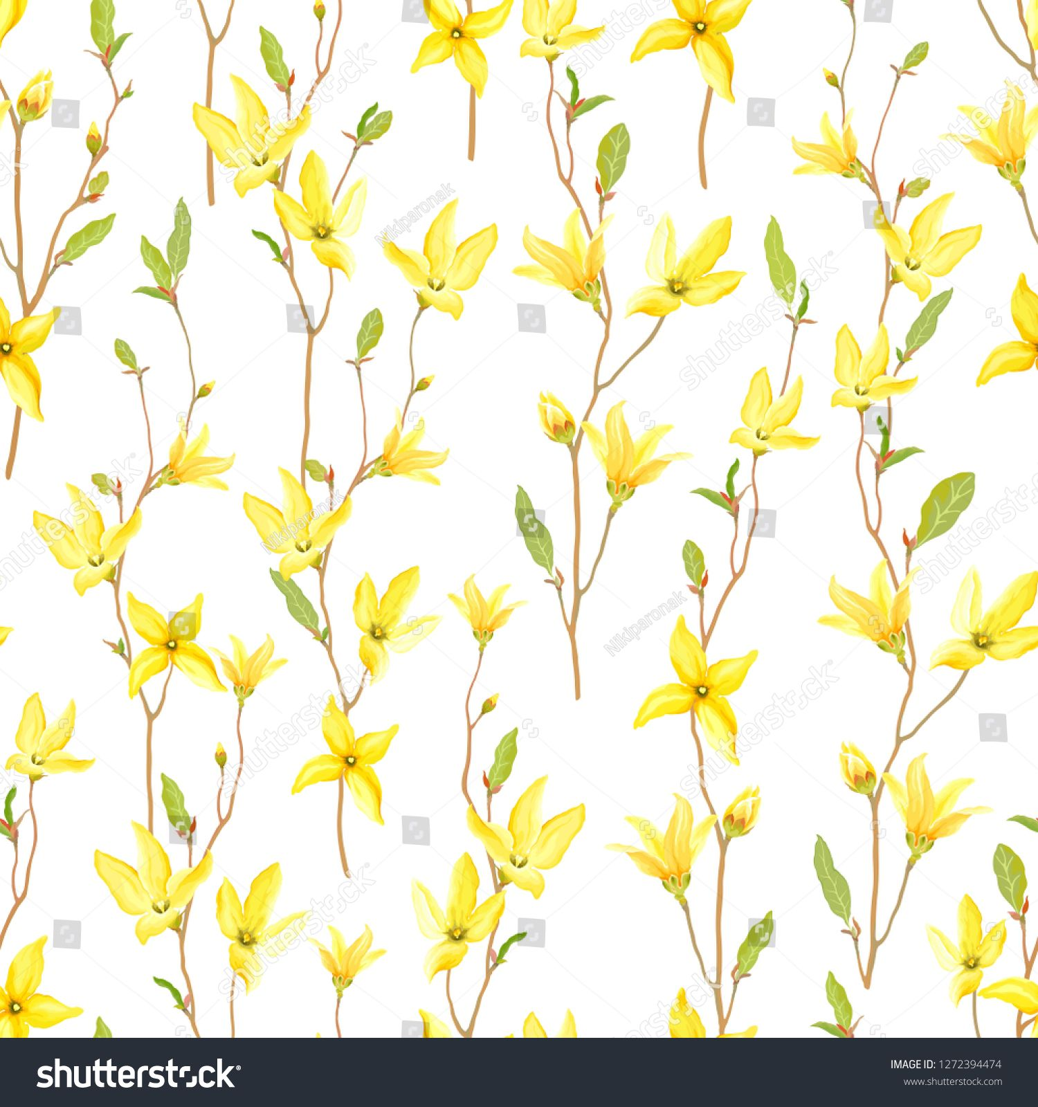 Seamless Floral Pattern With Blossoming Yellow Flowers And Green
