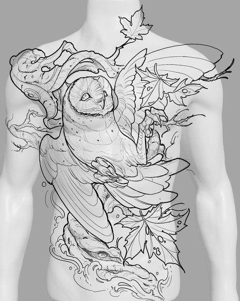 Эскиз тату сова на грудь    Блог про татуировки pavuk.ink