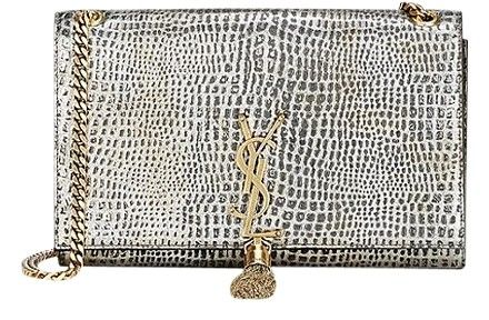 110ff55c365e Saint Laurent Ysl Kate Monogram Medium Croc-stamped Tassel Silver Cross  Body Bag on Sale