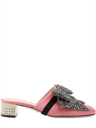 af90630ed41e GUCCI 35Mm Silk Satin Mules W/ Crystal Bow, Pink. #gucci #shoes #sandals