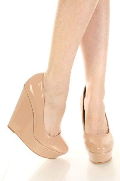 Nude Patent Faux Leather Round Closed Toe Platform Wedge Pumps ...