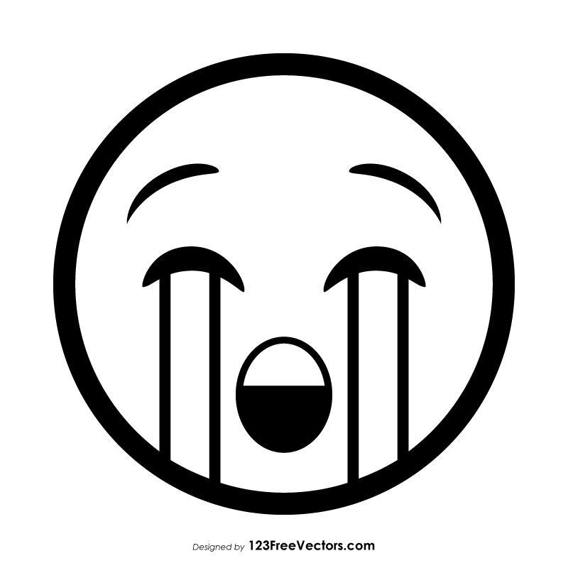Loudly Crying Face Emoji Outline Vector Emoji Coloring Pages Emoji Drawings Emoji