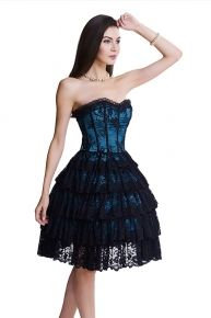 intriguing push up skater skirted corset dress lace