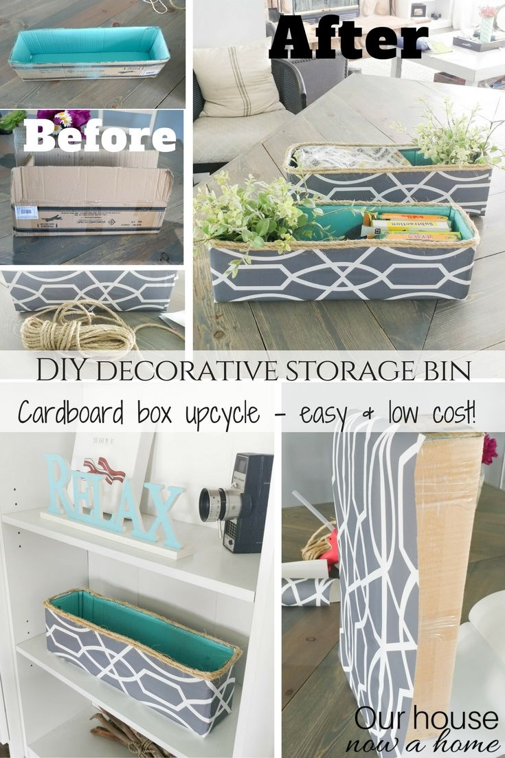 DIY decorative storage bin - cardboard box upcycle • Our House Now a Home