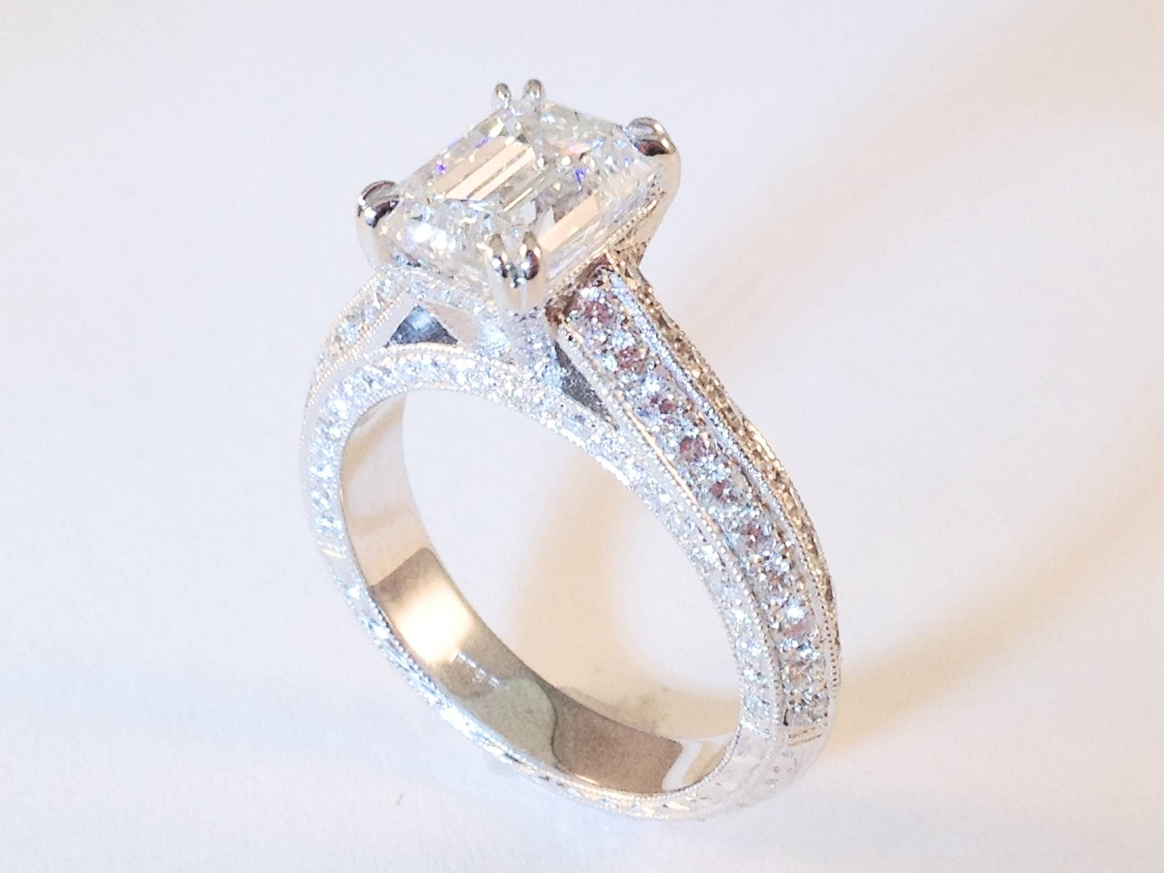 moissanite rose r ring e ctw gold and halo rings wedding cushion in diamond cathedral