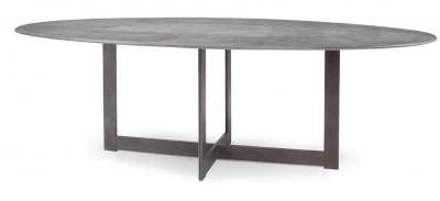 Xander Oval Dining Table In Slate Concrete With Dirty Steel Base Suitable For Outdoor Use Available