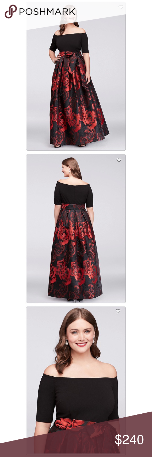 Plus size red roses gown 🌹 This plus-size ball gown is in bloom  the rose  jacquard skirt makes a bold floral statement a800b2402