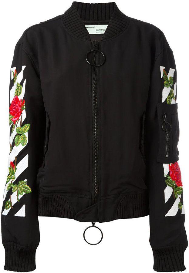 b1ab69552 Off-White roses logo bomber jacket   Products   Rose bomber jacket ...