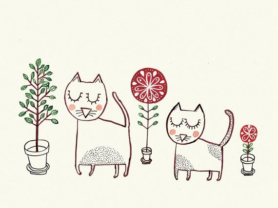 Three Flowers Two Cats by semiblanca on Etsy