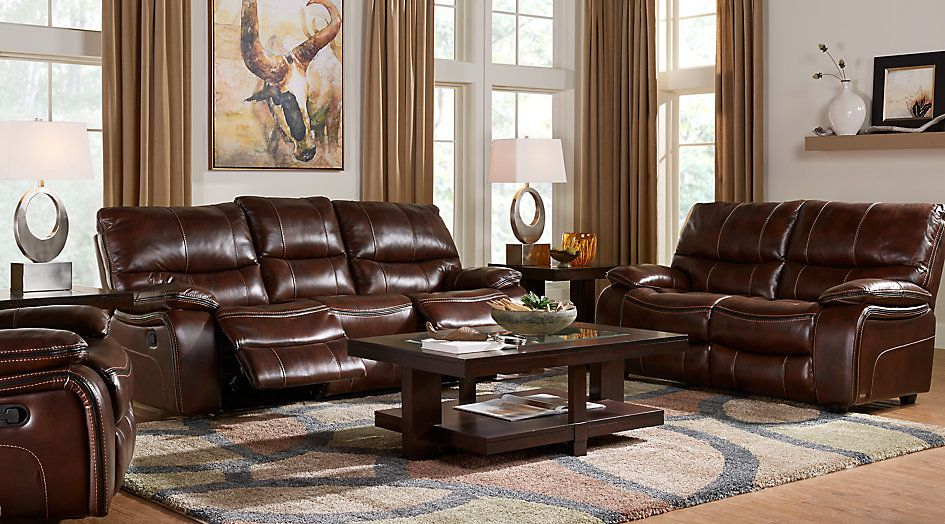 Cindy Crawford Home Gianna Brown Leather 2 Pc Living Room From Furniture Leather Living Room Furniture Living Room Leather Brown Living Room