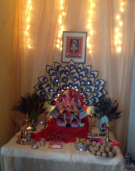 Ganpati decoration at home simple - Home decor