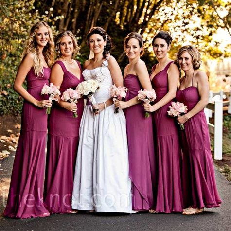 Nicole found the bridesmaid dresses at a shop in Bellevue, WA. Each ...