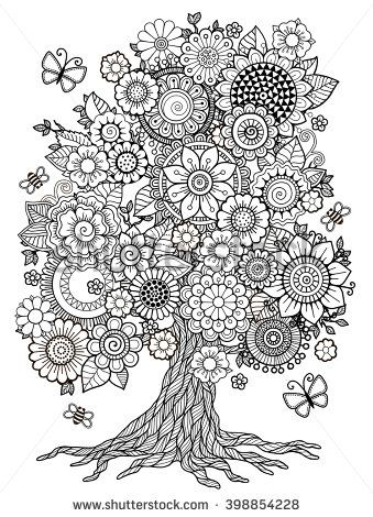 Blossom Tree. Coloring Book For Adult. Doodles For Meditation ...
