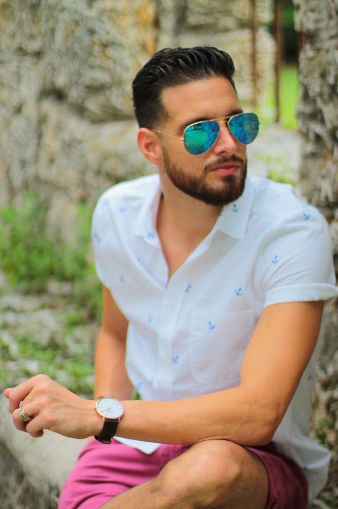 Maroon Shorts White Top Man Blue Anchor Shirt Blue Ray Ban