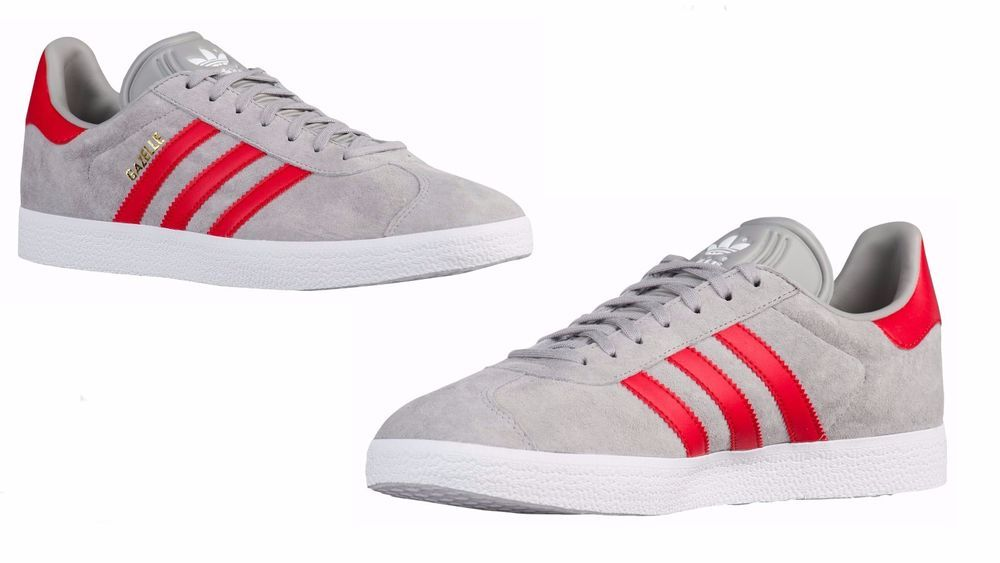 official photos a5902 62811 Mens Adidas ORIGINALS GAZELLE Medium Grey Heather Solid GreyScarlet WHT  BB5257 adidas BB5257