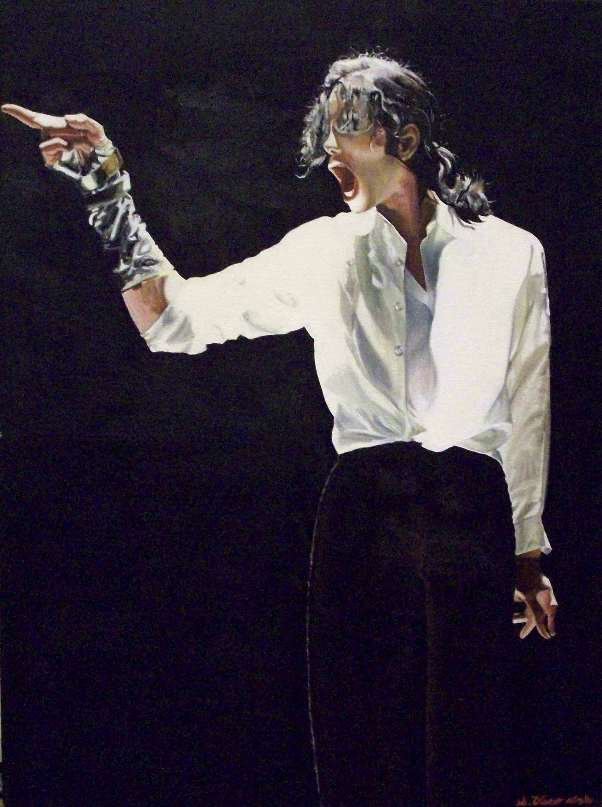 0dc910ece93a Original Oil Painting Michael Jackson Black and White