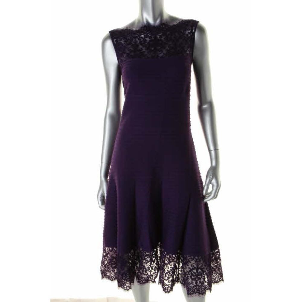 Lace dress purple  TADASHI SHOJI NEW Purple Lace Trim Sleeveless Party Cocktail Dress L