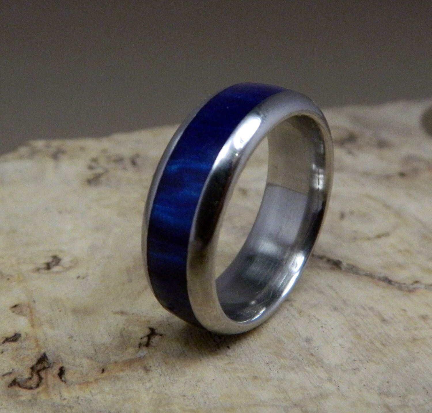 Mens Stainless Steel Ring with Cobalt Blue Inlay Free