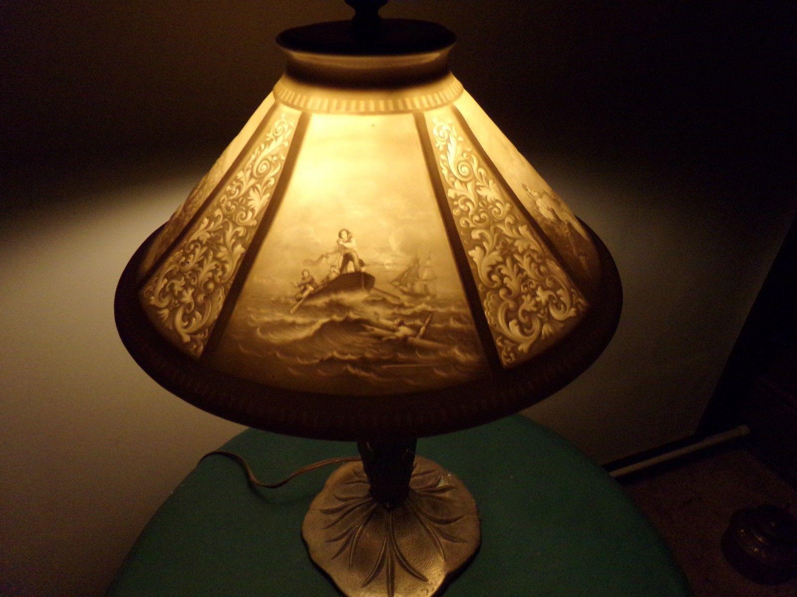 Antique Very Rare Porcelain Lithophane Student Table Lamp Shade