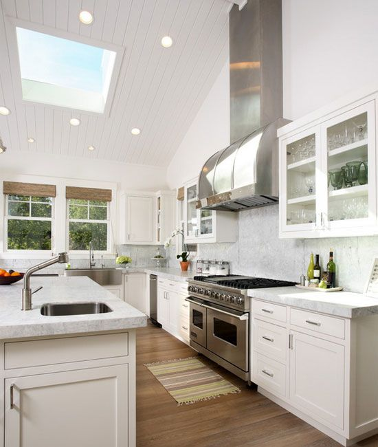 Small Kitchen High Ceilings With Wood Flooring And White